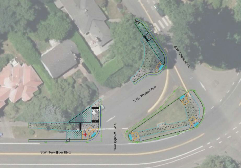 Figure 2: Neighborhood Greenway Project at SW Terwilliger Blvd. at SW Chestnut St and SW 6tht (image from PBOT)